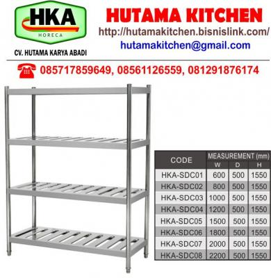 HUTAMA KITCHEN MENJUAL SLOTTED RACK 4 TIERS STAINLESS STEEL